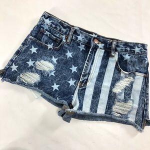 Americana American flag cutoff shorts. Size 8